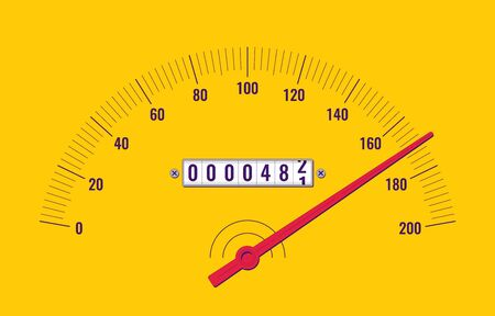 Car speedometer dashboard. Speedometer panel with odometer. Vector illustration Vectores