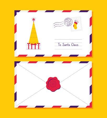 Christmas mail envelope. Christmas letter with postmark. Vector illustration Foto de archivo - 137240366
