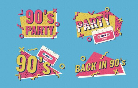 Retro poster. Nineties music, vintage tape cassette. 90s poster. Nineties Party. Vectores