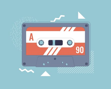 Audio Cassette on Memphis style background. Retro Cassette. Vector illustration