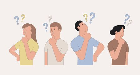Thinking people. Set of characters with question marks. Vector illustration