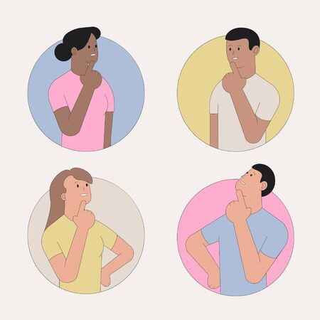 Thinking people. Set of characters in round windows. Vector illustration Vectores