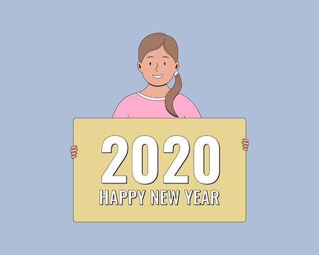 2020 Happy New Year. People holding greeting cards. Young woman holding a banner. Vector illustration. Vectores