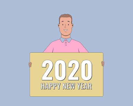 2020 Happy New Year. People holding greeting cards. Young man holding a banner. Vector illustration.