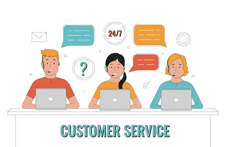 Customer service. Operator of call center office working in headsets. Customer support concept. Vector illustration.