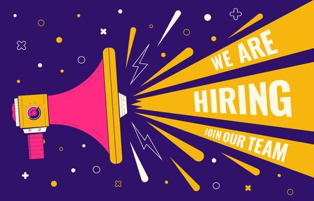 Hiring banner. Loudspeaker illustration. Human resources, recruiting company landing page template. We are hiring, join our team. Recruitment companies advertisement. Vector illustration Vectores