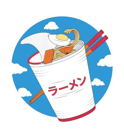 Ramen soup with chopsticks on sky and clouds Vectores