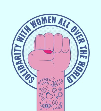 International Women's Day. Woman's fist raised up. Female hand in tattoos. Vector illustration for March 8 일러스트