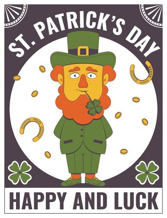 Happy Saint Patrick's Day. Vintage poster or banner with Saint Patrick's day elements. 向量圖像