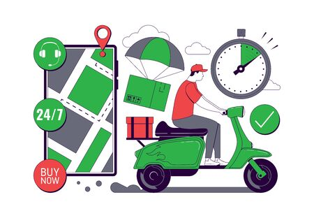 Online Delivery service concept. Mobile tracking app. Online order tracking. Fast Delivery by motorcycle. City logistics. Scooter with courier. Vector illustration Foto de archivo - 144841635