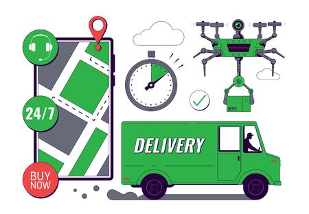 Online Delivery service concept. Mobile tracking app. Online order tracking. Fast Delivery by motorcycle. City logistics. Scooter with courier. Vector illustration