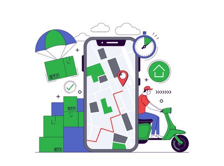 Delivery Service Concept. Mobile tracking app. Online order tracking. Fast and Safe Delivery. City logistics. Vector illustration