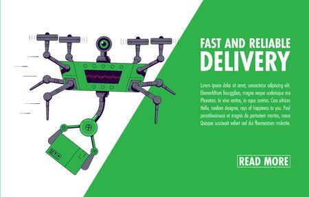 Delivery service concept. Flying Drone holding box. Air Delivery. Delivery drone with cargo. Vector illustration Vectores