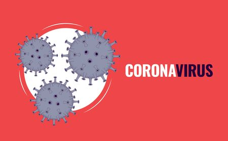 Coronavirus. Virus particles and place for text. Banner, poster or flyer. Vector illustration.