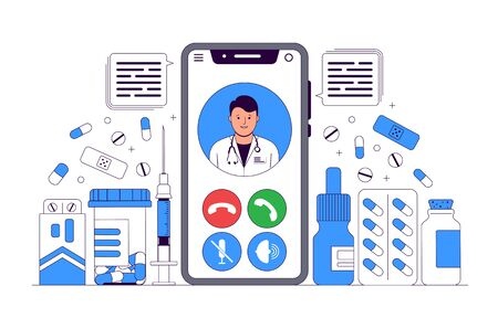 Online Doctor Concept Illustration. Online medical consultation and support. Video call using a smartphone. Doctor and Medication. Vector illustration