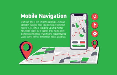 Mobile Navigation. Smartphone with mobile navigation app on screen. Route map with destination point. Vector illustration Vectores