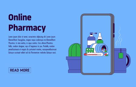 Online Pharmacy App Concept. Smartphone with medicines on the screen on the background of a mug and a cactus. Make an order from home. Vector illustration Vectores