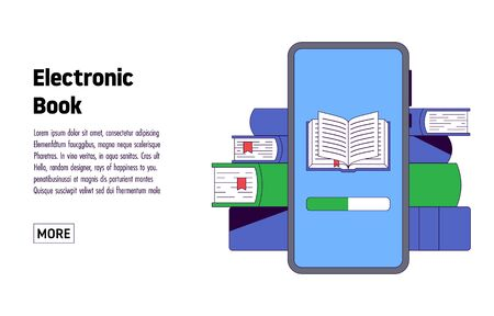 Electronic books. Smartphone with reading app. Education concept, book lovers. Vector illustration Vectores