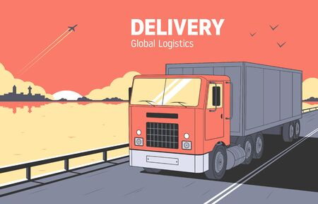 Delivery Concept. Delivery truck rides on the road. City silhouette and sunset. Vector illustration Vectores