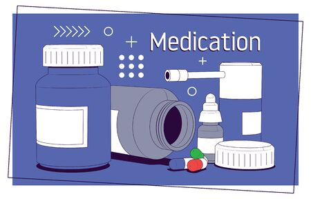 Medication, pharmaceutics concept. Medical pills and bottles. Medicine, pharmacy, hospital set of drugs with labels. Vector illustration Foto de archivo - 145851662