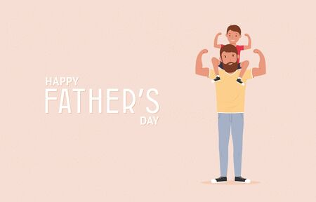 Happy father's day. Father with his son. Super dad. Vector illustration Vectores