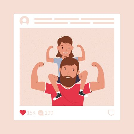 Happy father's day. Father with his daughter. Photo in the social network. Super dad.  Vector illustration Vectores