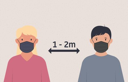 Social distancing. People in medical masks keep distance. Air pollution, virus protection. Vector illustration