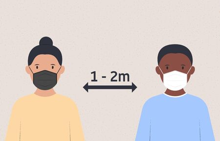 Health care concept. People in medical masks keep distance. Measures to prevent the Covid-19 Coronavirus virus. Vector illustration
