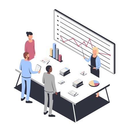 Data Analysis concept and project management. Business people. Financial analysis, business strategy, teamwork, audit. Isometric vector illustration