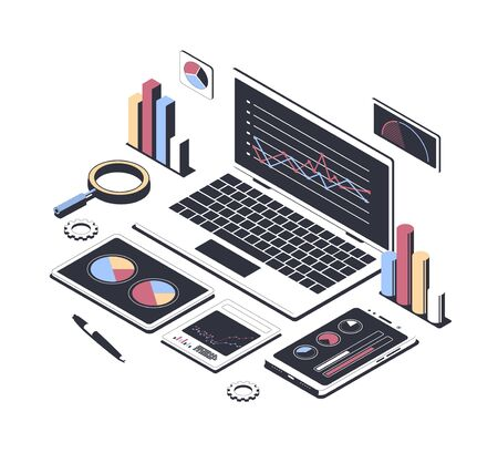 Data analysis concept, business strategy, stock market. Laptop with chart, smartphone with diagram, clipboard with pen isolated on white background. Isometric vector illustration 向量圖像