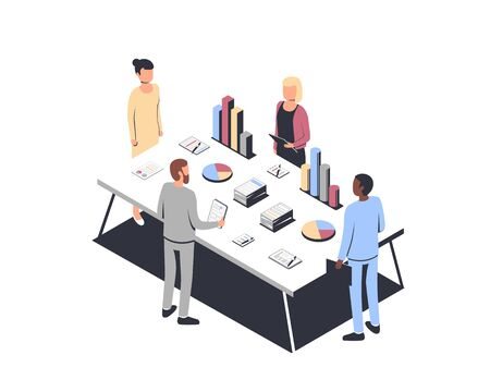 Data Analysis concept and project management, financial analysis, business strategy, teamwork, audit. Isometric vector illustration Vectores