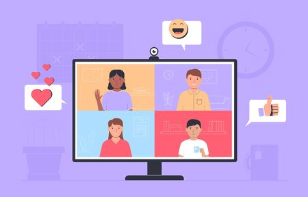 Video conference. Online meeting friends. Monitor with app interface for online communication. People talking online. Vector illustration Vectores