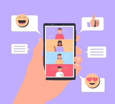 Video conference. Online meeting friends. Hand holds smartphone with app interface for online communication. People talking online. Vector illustration