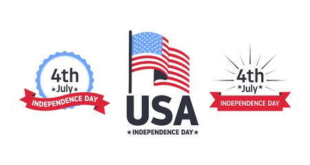 4th of July. Independence day of USA. Independence Day vector icon set. Usable for greeting card, poster or flyer. Vector illustration. Vectores