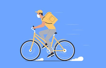 Coronavirus, quarantine delivery. Courier in medical mask on a bicycle. Express delivery. Vector illustration