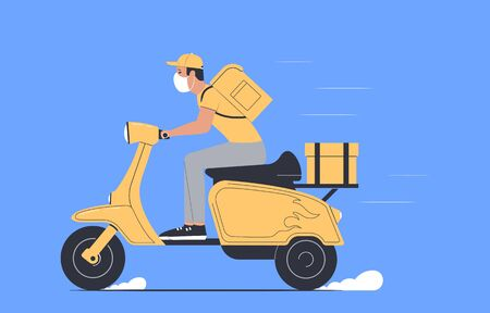 Coronavirus, quarantine delivery. Courier in medical mask on a scooter. Express delivery. Vector illustration