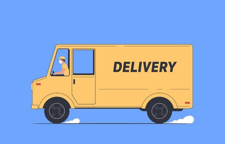 Coronavirus, quarantine delivery. Courier in a medical mask in a delivery truck. Express delivery. Vector illustration