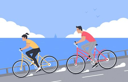 Bicycle walk. Outdoor sports, tourism. Happy couple rides bicycles on the background of the sea and clouds on the horizon. Vector illustration
