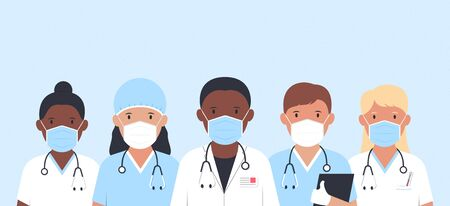 Doctors and nurses together against virus. Medical staff. Doctors with stethoscopes. Vector illustration