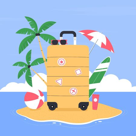 Vacation and travel concept. Suitcase for traveling on an island in the open ocean. Exotic island for vacation. Vector illustration