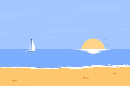 Summer background. The beach and ocean with the setting sun. Tropical landscape. Vector illustration Vectores