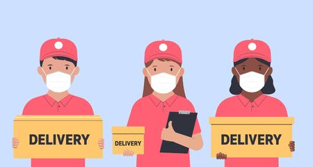 Delivery of goods and food during isolation. Courier in a face mask with a box in his hands. Vector illustration.