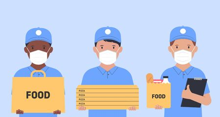 Delivery of goods and food during isolation. Couriers in face masks with a boxes and packages in hands. Vector illustration.