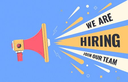 We are hiring, join our team. Hiring banner with loudspeaker. Human resources, recruiting company. Recruitment companies advertisement. Vector illustration Foto de archivo - 147574381