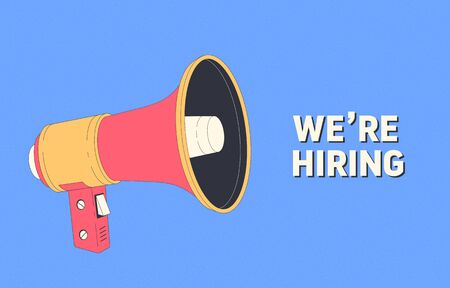 We are hiring. Hiring banner with loudspeaker. Human resources, recruiting company. Recruitment companies advertisement. Vector illustration Foto de archivo - 147573628