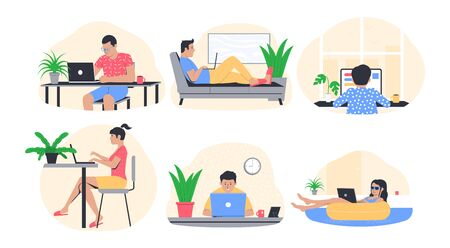 Freelance work concept. People working from home. Freelancer in comfortable conditions. Vector illustration
