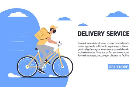 Coronavirus, quarantine delivery concept. Courier in medical mask on a bicycle. Express delivery. Vector illustration Vectores