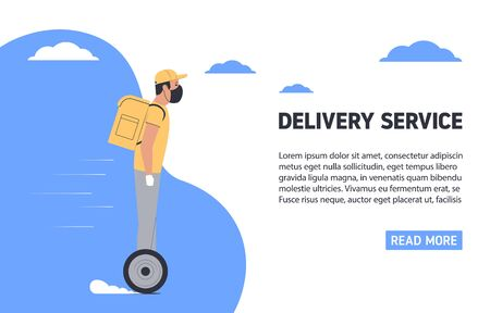 Coronavirus, quarantine delivery concept. Courier in medical mask on a hoverboard. Express delivery. Vector illustration Vectores