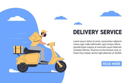 Coronavirus, quarantine delivery concept. Courier in medical mask on a motorcycle. Express delivery. Vector illustration