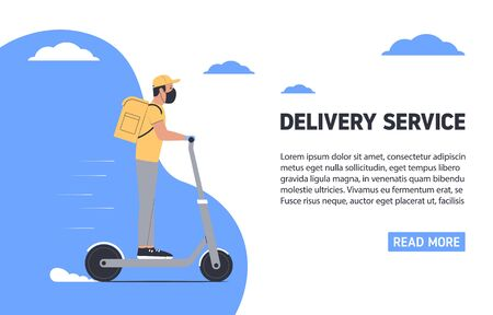 Coronavirus, quarantine delivery concept. Courier in medical mask on a scooter. Express delivery. Vector illustration Vectores